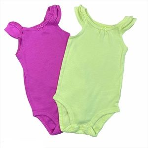 Carters 2-pack tank green & pink bodysuits